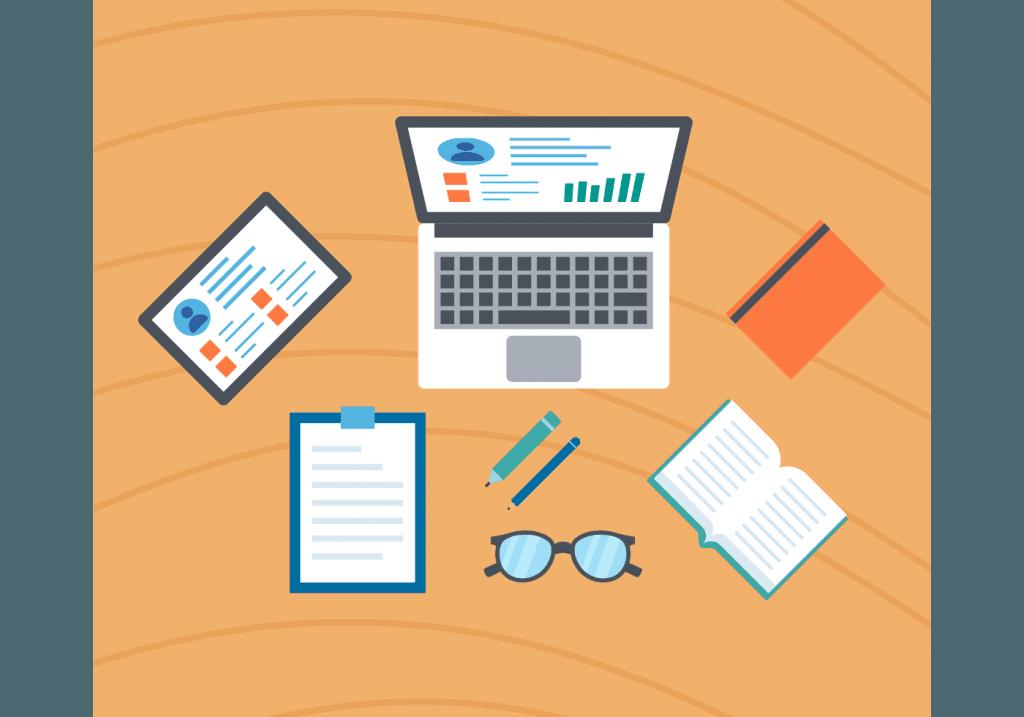 Como empreender - Computadores, caderno, caneta representando o estudo