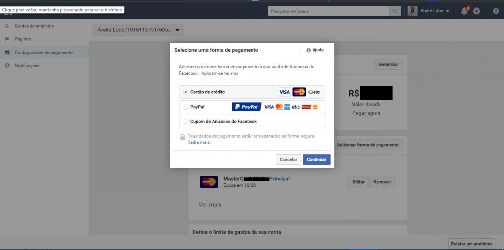 Facebook - Formas de pagamento