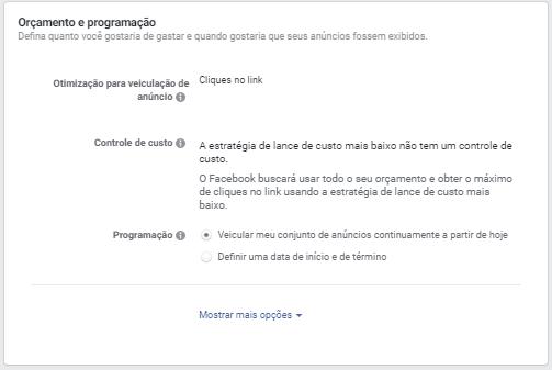 Facebook - Conjunto de anúncios - Programação