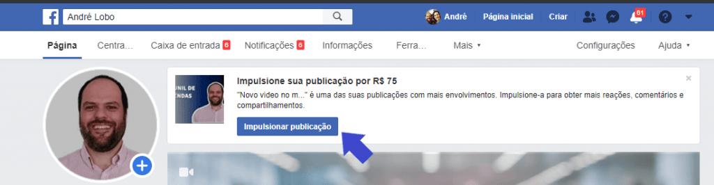 Como Impulsionar no Facebook - Botão