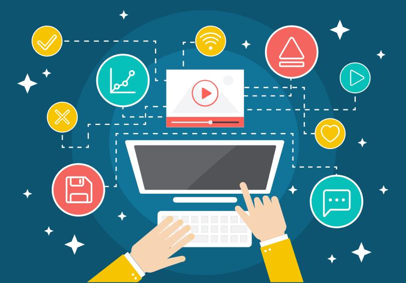 Computador e ícones representando um negócio digital