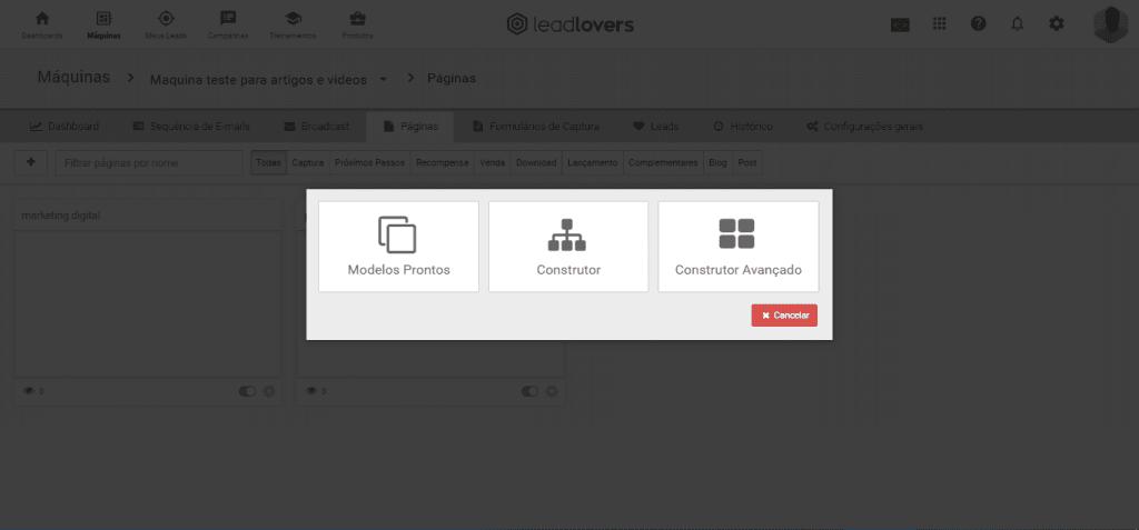 Leadlovers - Construtores de Páginas
