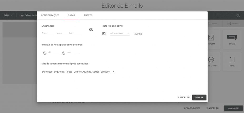 Leadlovers - Editor de email - Configurações - Data de envio