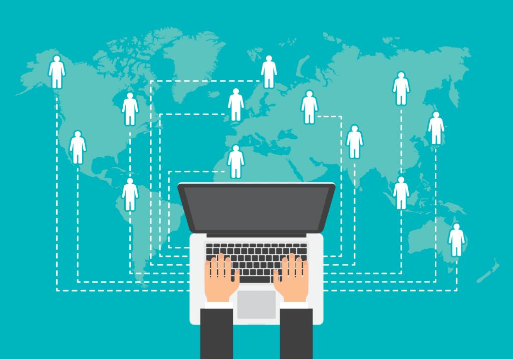 Como Empreender - Notebook , Internet e pessoas representando o Marketing de afiliado