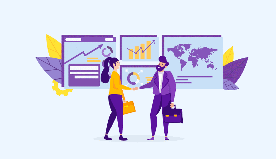 Imagem em vetor com uma mulher e um homem se cumprimentando com janelas de gráficos e mapa ao fundo, simbolizando a ação de trabalhar pela Internet como afiliado.
