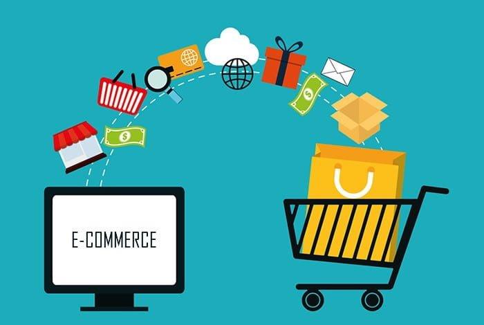 Imagem vetorial com um monitor escrito ECOMMERCE e um carrinho de compras,  vários produto em uma elipse saindo do monitor e entrando no carrinho de compras